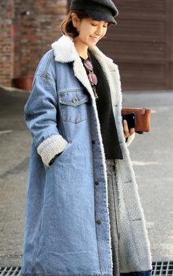 Утипленное джинсовое пальто фото 3