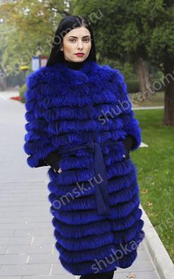 пальто на трикотажной основе из меха лисы фото 2