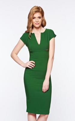 Зеленое офисное платье фото 1