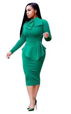 Зеленое офисное платье фото 2