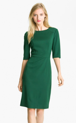 Зеленое офисное платье фото 3