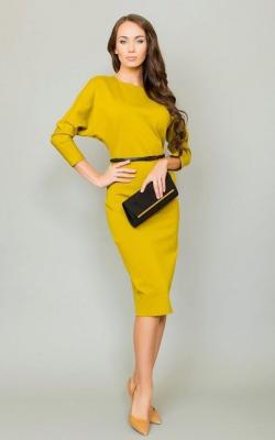 желтое офисное платье фото 2