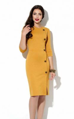 желтое офисное платье фото 3