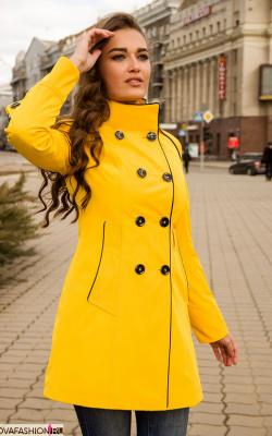 Желтый женский плащ дождевик фото 3