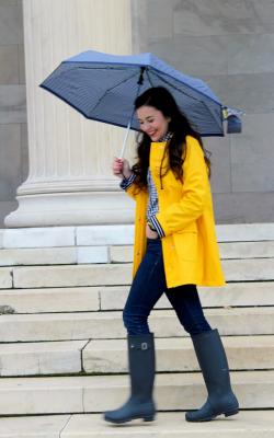 Желтый женский плащ дождевик фото 23