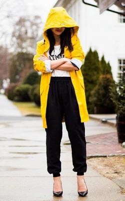 Желтый женский плащ дождевик фото 25