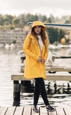 Желтый женский плащ дождевик фото 30