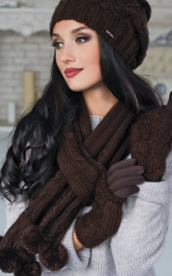 набор шапка шарф перчатки женские 1