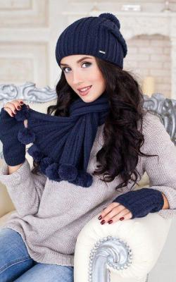 набор шапка шарф перчатки женские 3
