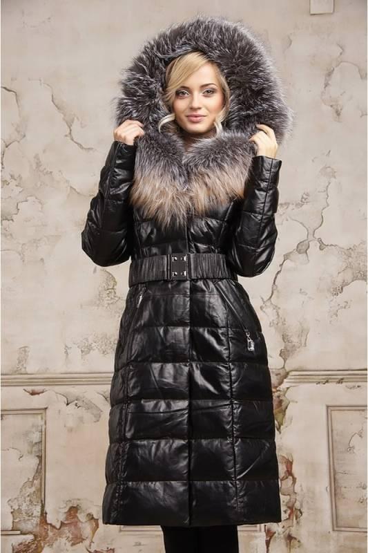 Зимняя женская верхняя одежда из кожи на меху