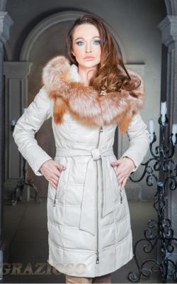 Женский кожаный зимний пуховик с мехом 1