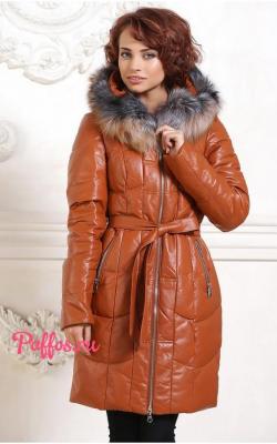 Женский кожаный зимний пуховик с мехом 2