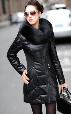 Женский кожаный зимний пуховик с мехом2