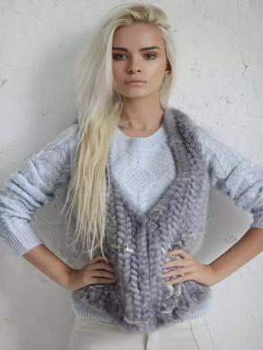 Шуба из вязаной норки
