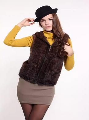 Шуба вязаной норки