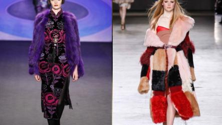 Цветные шубы и пальто из окрашенного меха норки и кролика