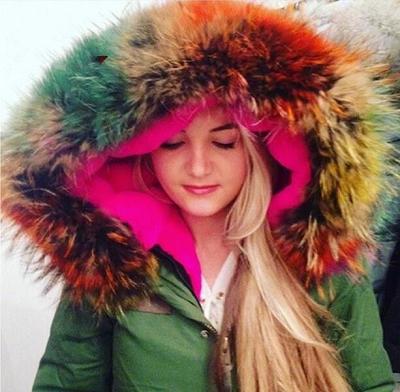 куртка парка женская цветным мехом