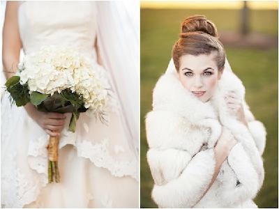 Невеста в белом меховом манто