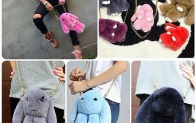 Тренд сезона меховой рюкзак – сумка кролик