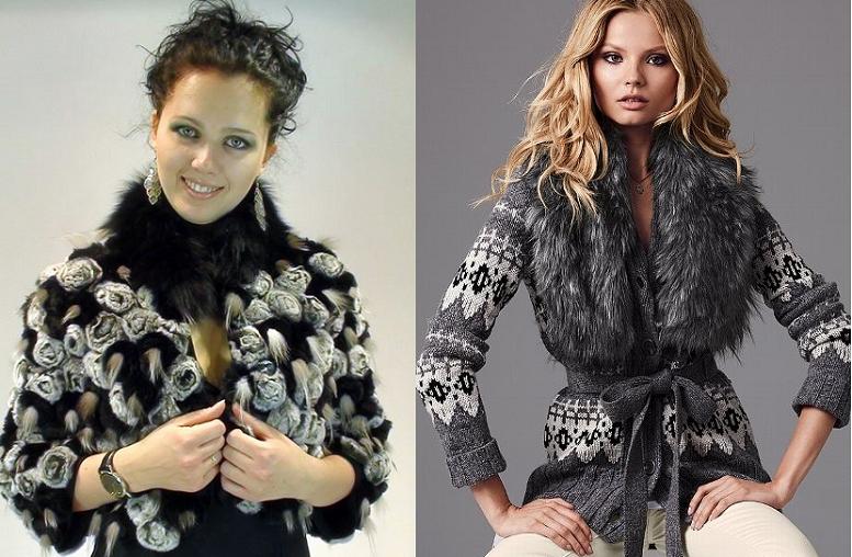 вязаная меховая куртка женская
