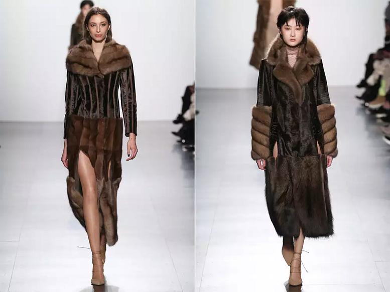 Пальто с меховым подолом зима 2018