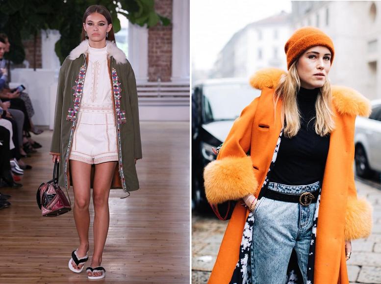 Модные показы пальто с мехом 13