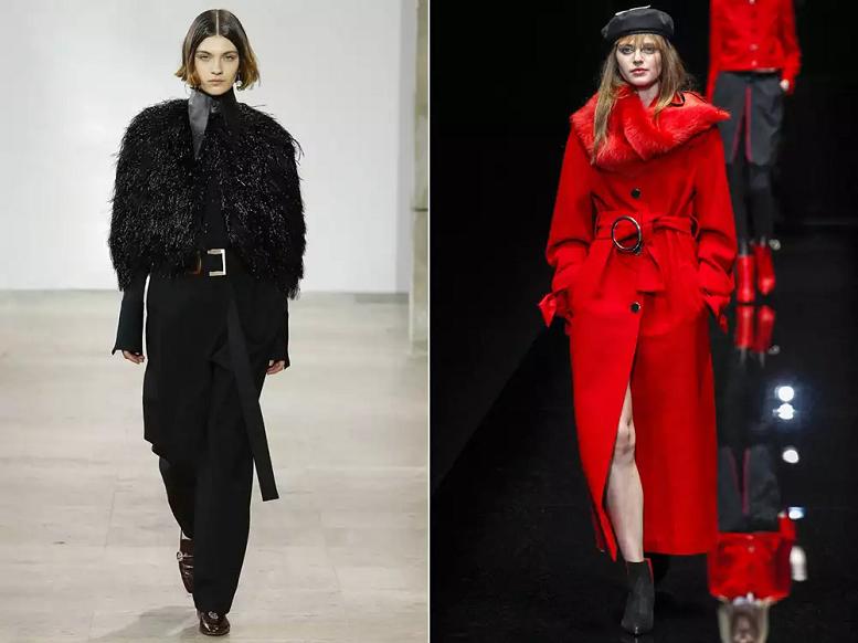 Женское пальто с искусственным мехом