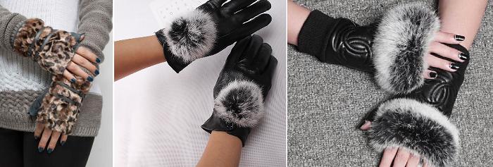перчатки с мехом зима