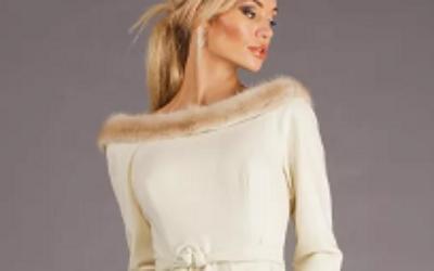 Шикарные платья с отделкой из меха: модели, модные луки