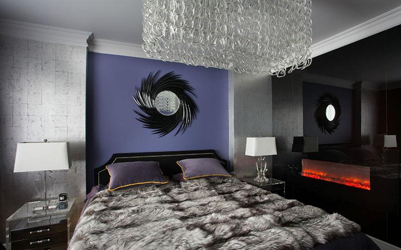 шкура с натуральным мехом в спальне