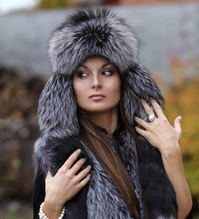 Женская шапка чернобурка