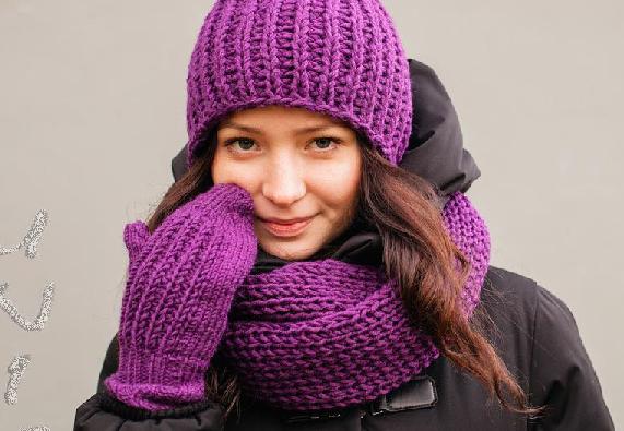 Набор шапка шарф перчатки фото