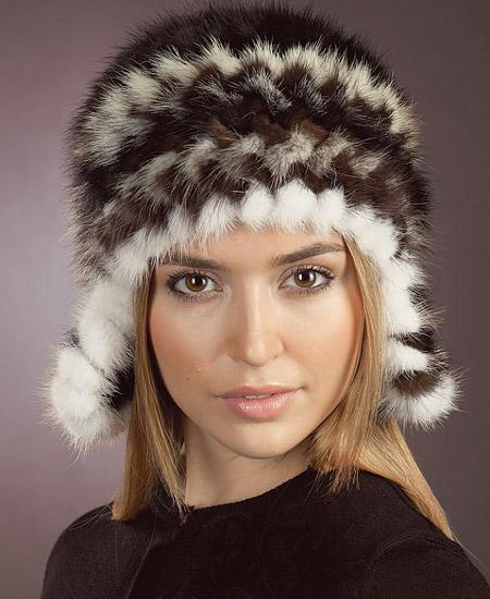 шапка из вязаной норки