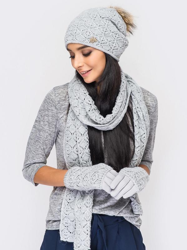 Женский комплект шапка шарф перчатки