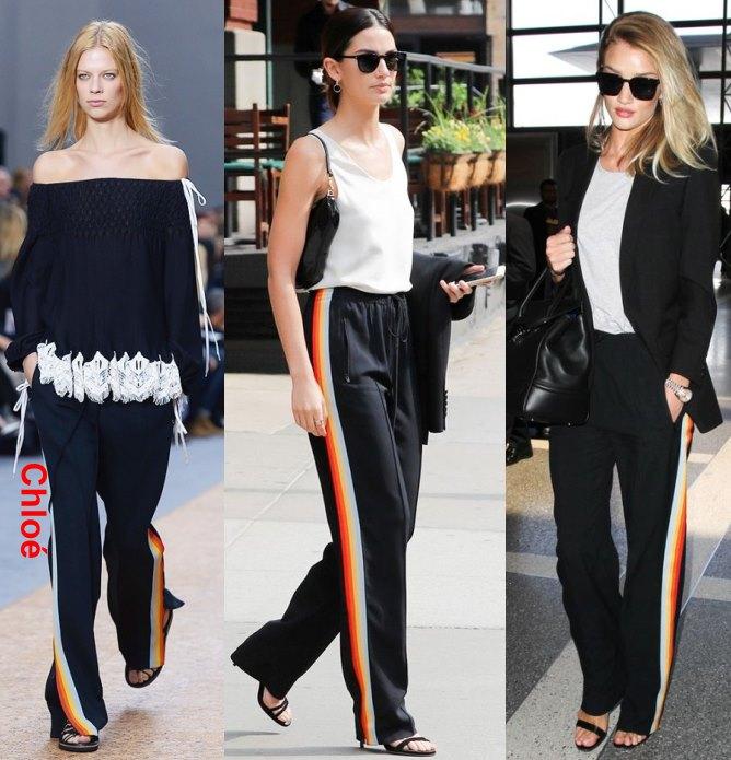 Модные женские брюки с плампасами по бокам фото