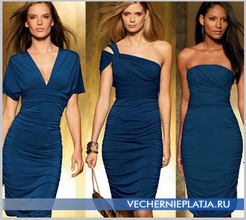 Синее платье трансформер до колена