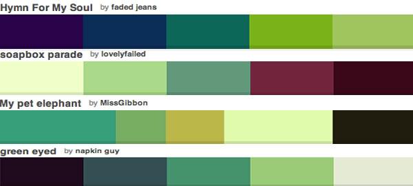 Таблица оттенков зеленого