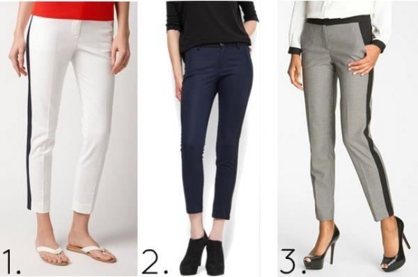 Укороченные брюки с лампасами с чем носить