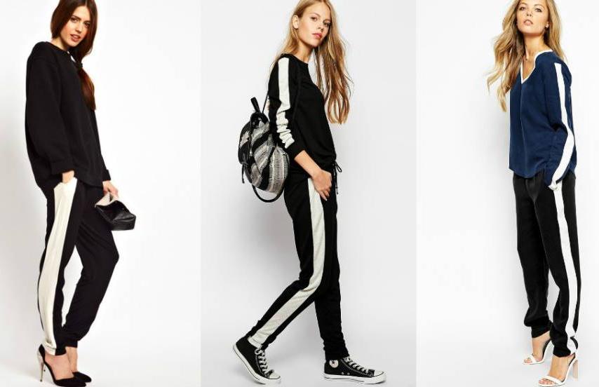 С чем носить черные брюки с лампасами