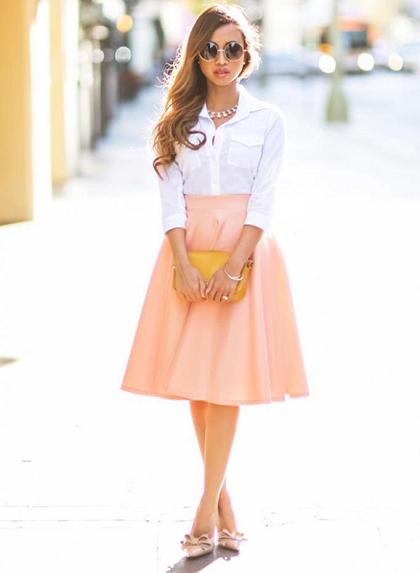 С чем носить розовую юбку-солнце