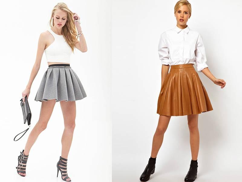 Короткая юбка-солнце с чем ее носить