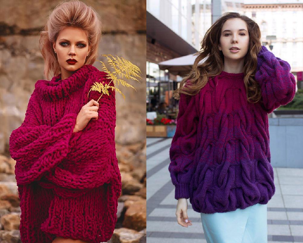 вязаный женский свитер модные узоры фото моделей тренды 2019