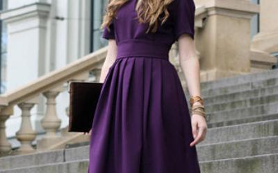 Ультрамодное фиолетовое платье: тренд 2018