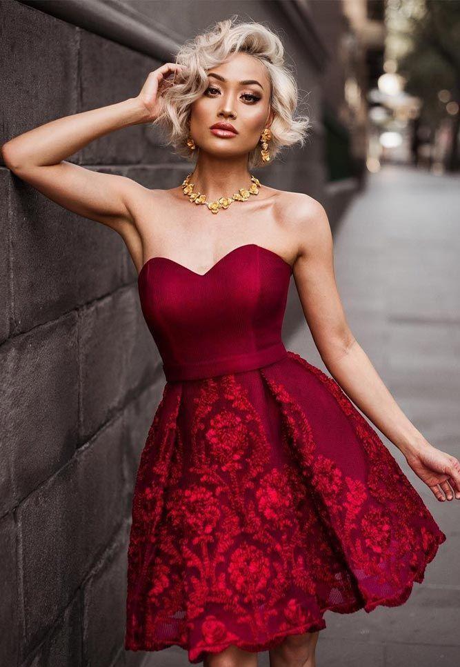 Бордовое платье на выпускной 2018