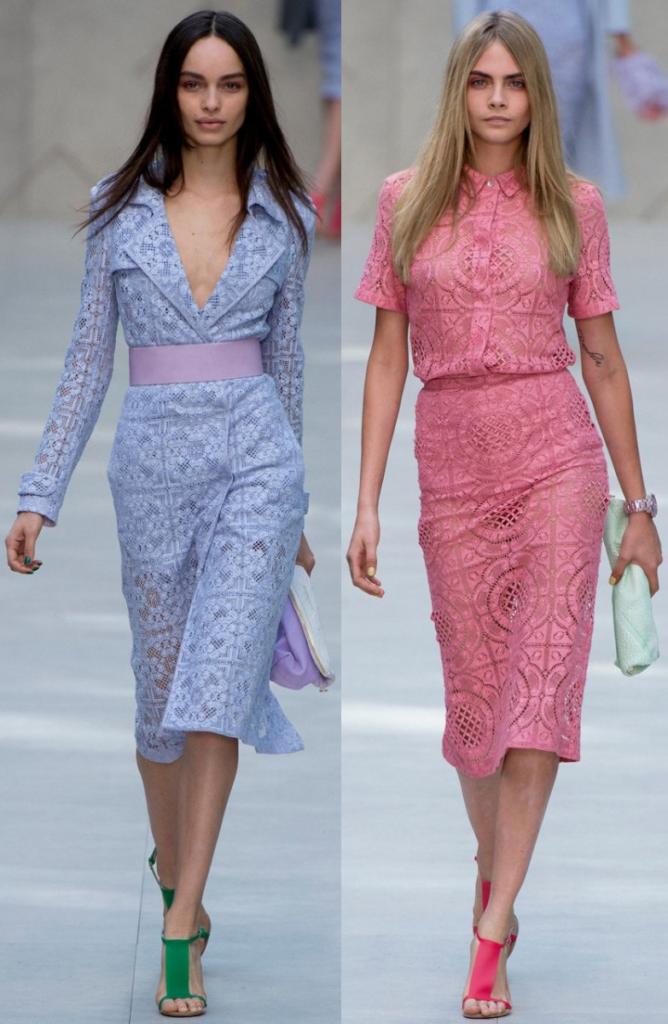 Модные цвета кружевных платьев на фото