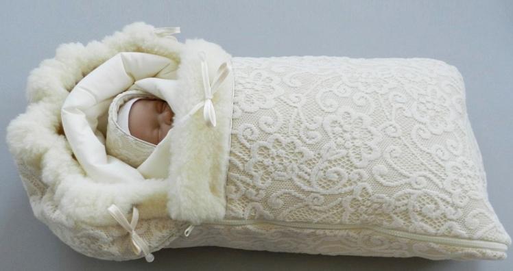 меховой конверт для новорожденного на выписку