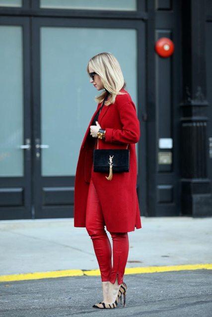 С чем носить красное пальто фото 1