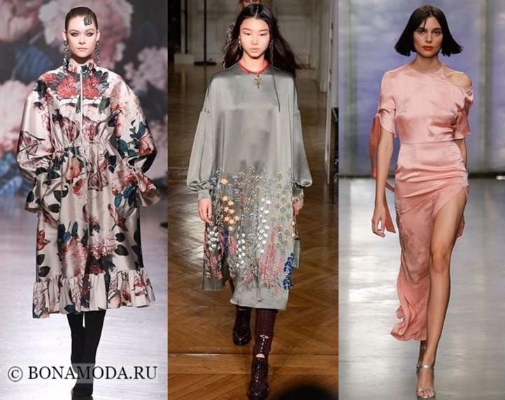 Атласные платья осень-зима 2018-2019