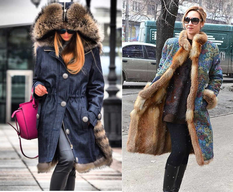 Джинсовое пальто с меховым воротником
