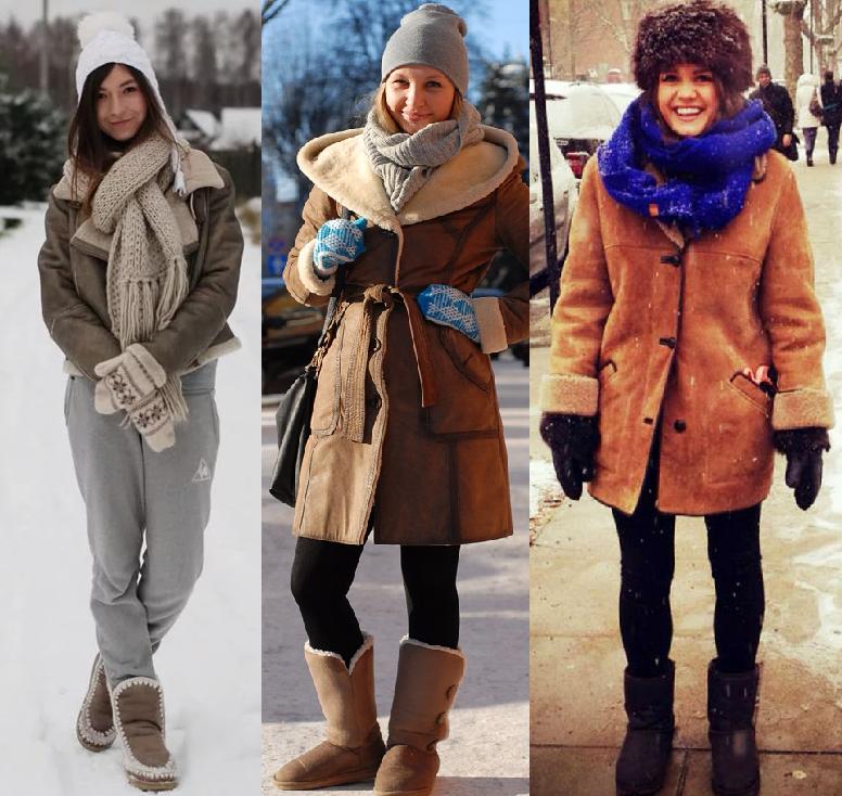 Как носить дубленку с шарфом фото